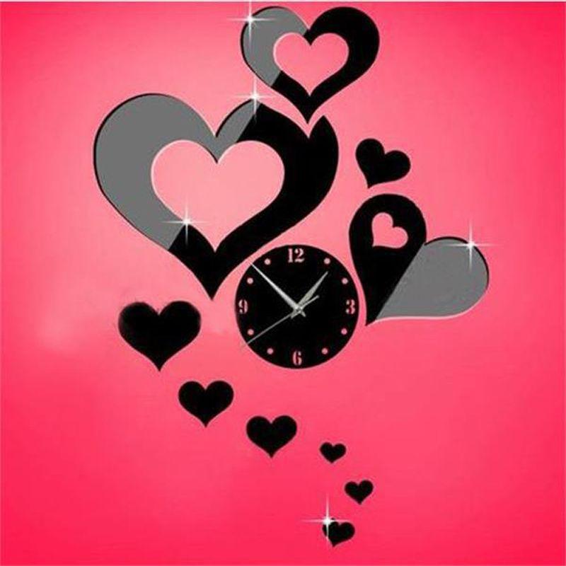 3d Acrylic Mirror Wall Clock Sticker LOVE Mirror Clock Modern Wall ...