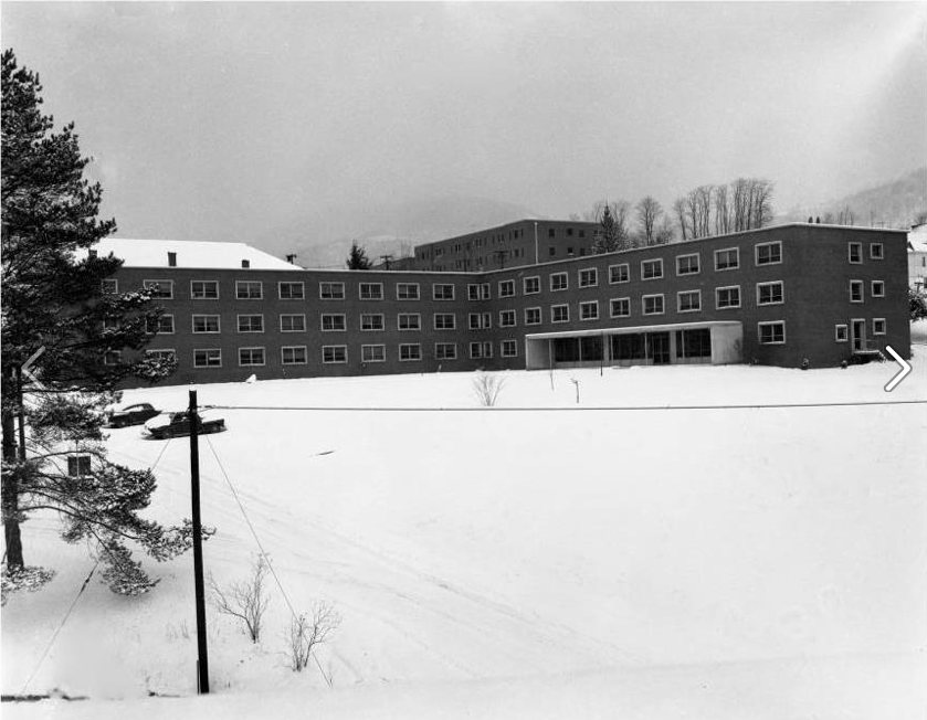 This image shows East Residence Hall, built 1952, after a