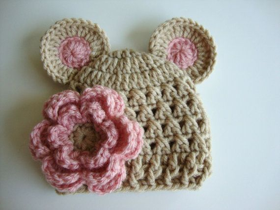 Photo of Items similar to Baby Girl Crochet Hat with Ears and Flower – Light Brown and Light Pink – Great for Photos – Newborn and Baby Sizes on Etsy