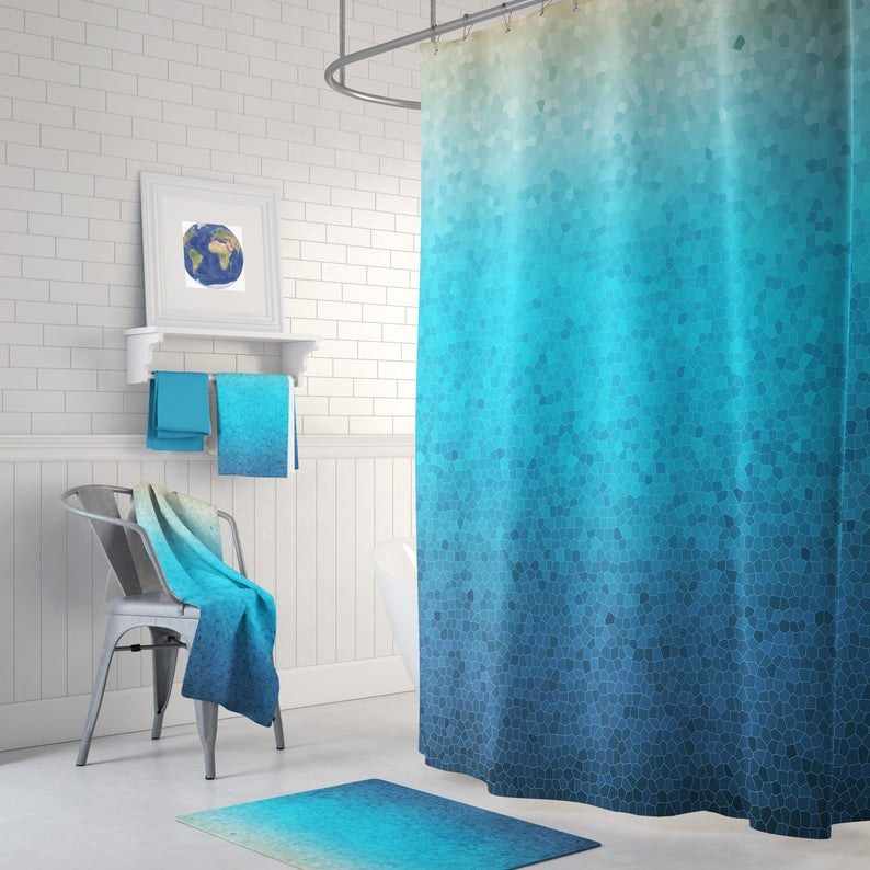 Sea Glass Mosaic Shower Curtain Set Blue Ombre Mosaic Style