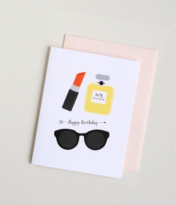 Fashionista Happy Birthday Card by PeiDesign on Etsy 450 – Birthday Cards Etsy
