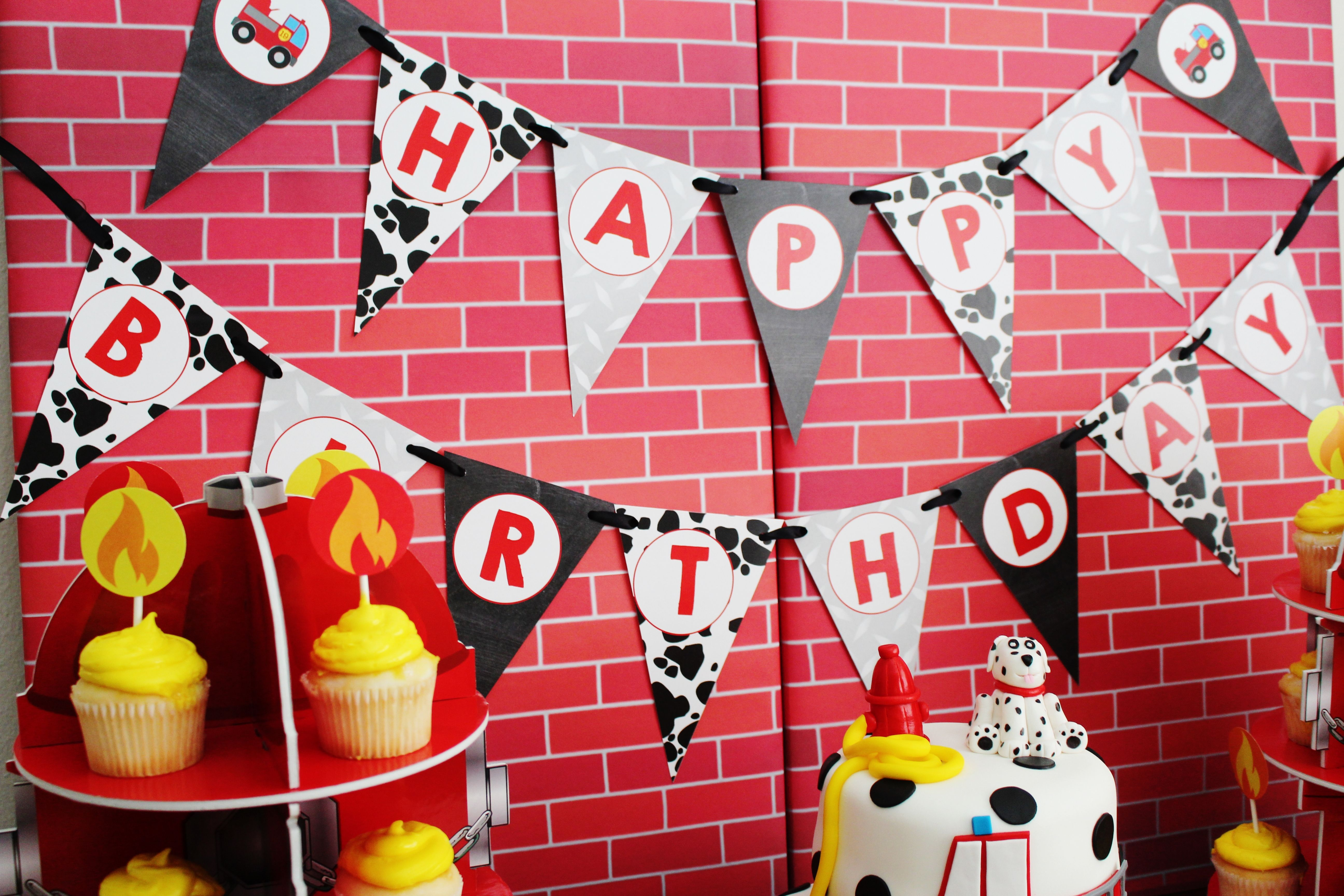 Fireman party theme banner; firetruck party theme banner | Party ...