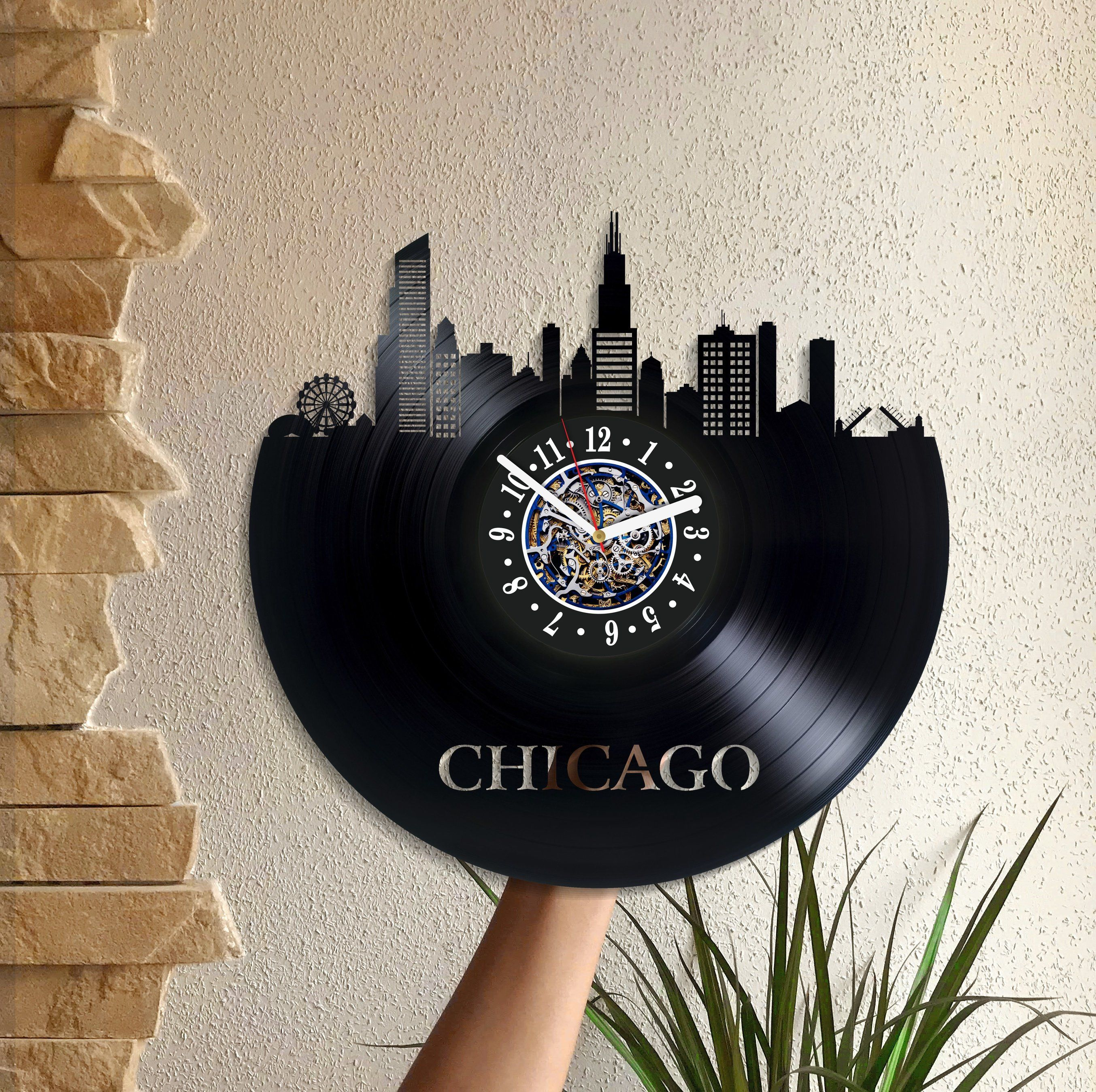 Chicago Wall Clock Birthday Gift For Woman Usa Art Lp Vinyl Retro Record Wall Clock Vintage City Art Xmas Gift Printed Clocks Vintage Clock Vintage Wall Clock