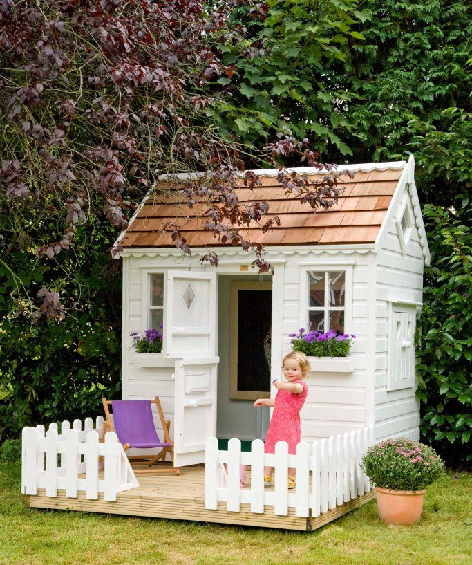 front view with door and window boxes of childrens wooden playhouse - Garden Sheds For Kids
