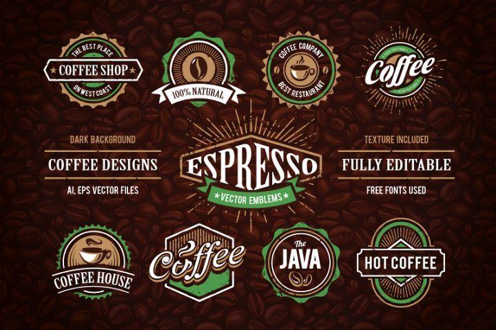 Retro Coffee Emblems 1 2110 Logos Design Bundles Vintage Logo Design Emblems Retro