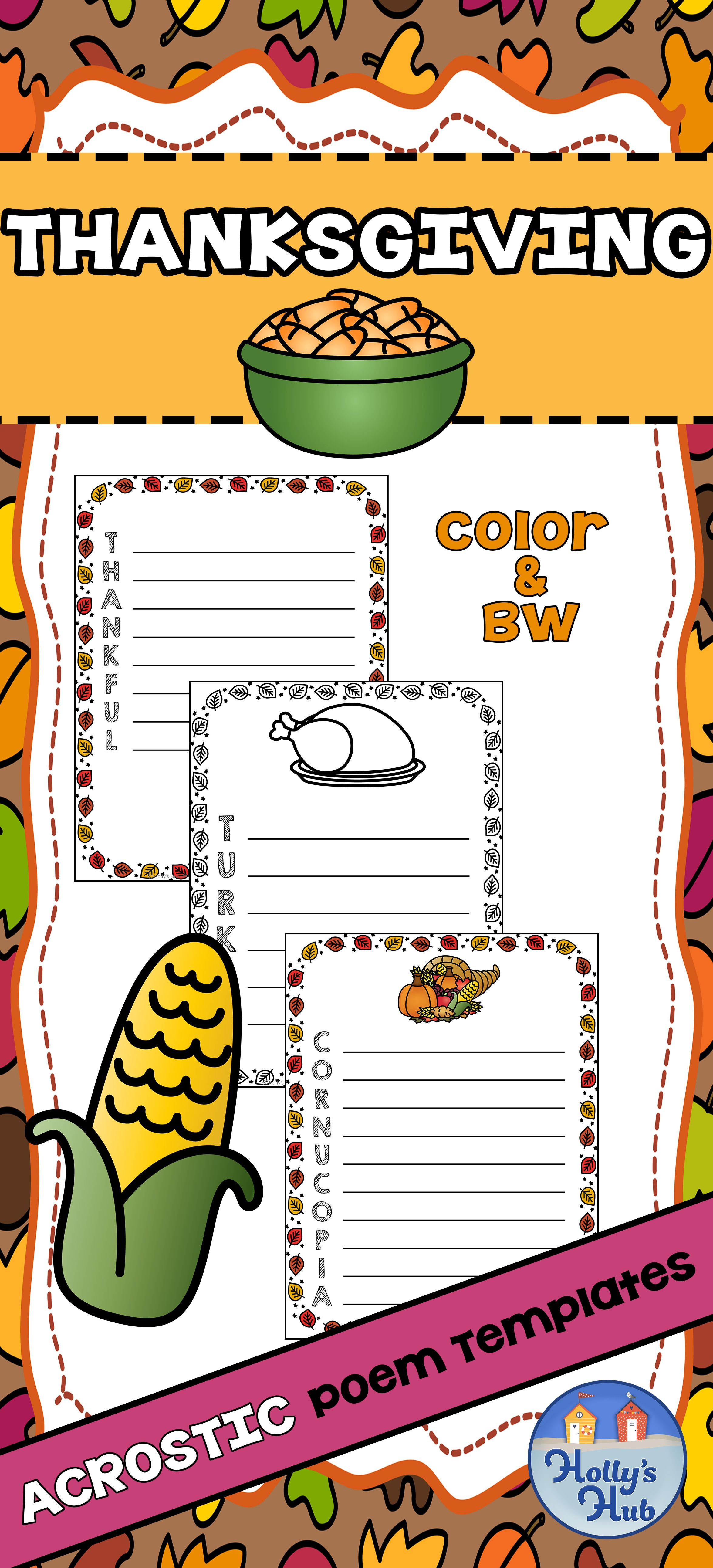 Acrostic Poem Templates Thanksgiving Harvest In