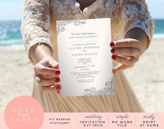 Wedding Invitation Word 5x7 Document Lace by LoveMeetsPaper - invitation word template