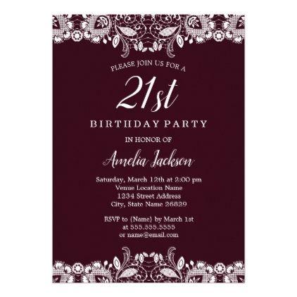 Vintage White Lace Burgundy 21st Birthday Party Invitation Zazzle Com Vintage Birthday Invitations 18th Birthday Party Birthday Party 21