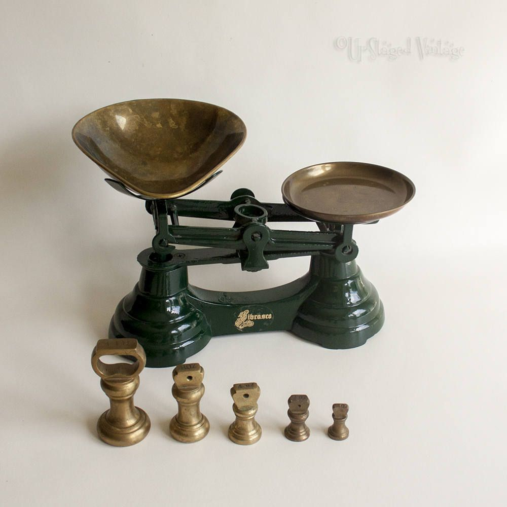 Vintage Bottle Green Librasco Kitchen Scales Inc Brass Pans Bell Weights By Upstagedvintage On Etsy Vintage Scale Vintage Fans Vintage Bottle