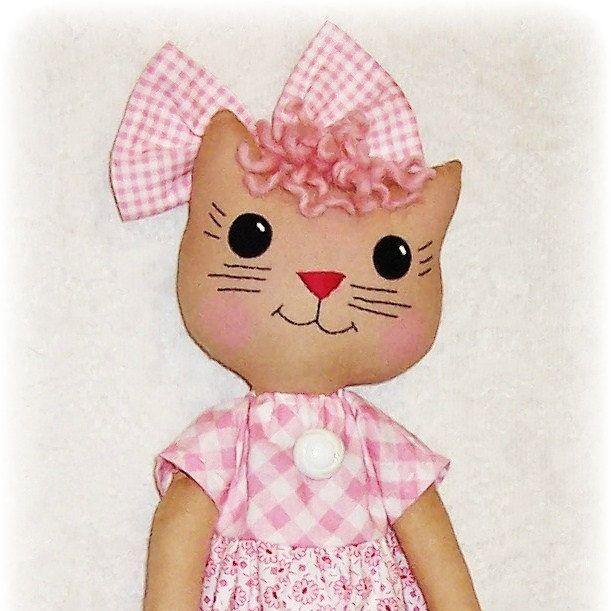 Kitty Cat Softie Pattern, PDF sewing pattern, Soft Doll, Stuffed ...