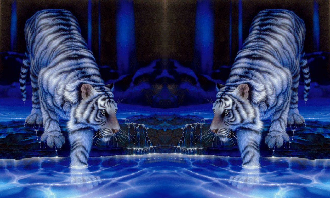 3D Moving Water | Twin Tigers | animals | Wallpaper, Iphone
