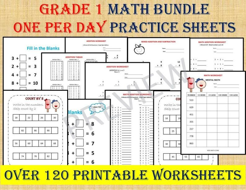 Math Addition Worksheets for Grade 1, 2/ one per day/ Year