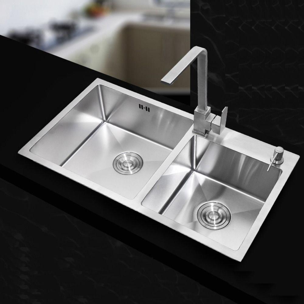 Kitchen Stainless Steel Undermount Kitchen Sinks Sets Double Bowl