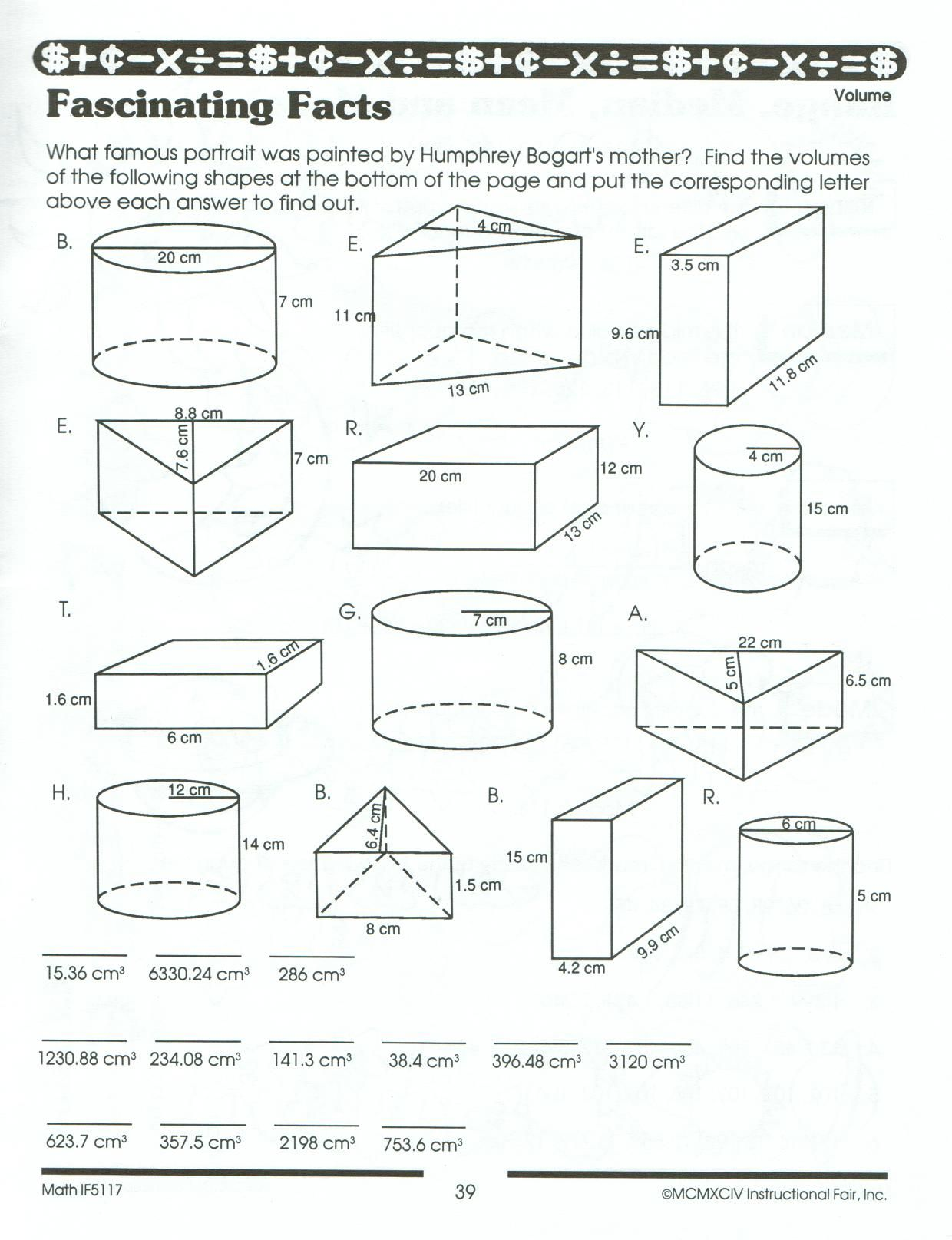 Worksheets Calculating Volume Worksheets watch the clip recognising a prism use to answer these school