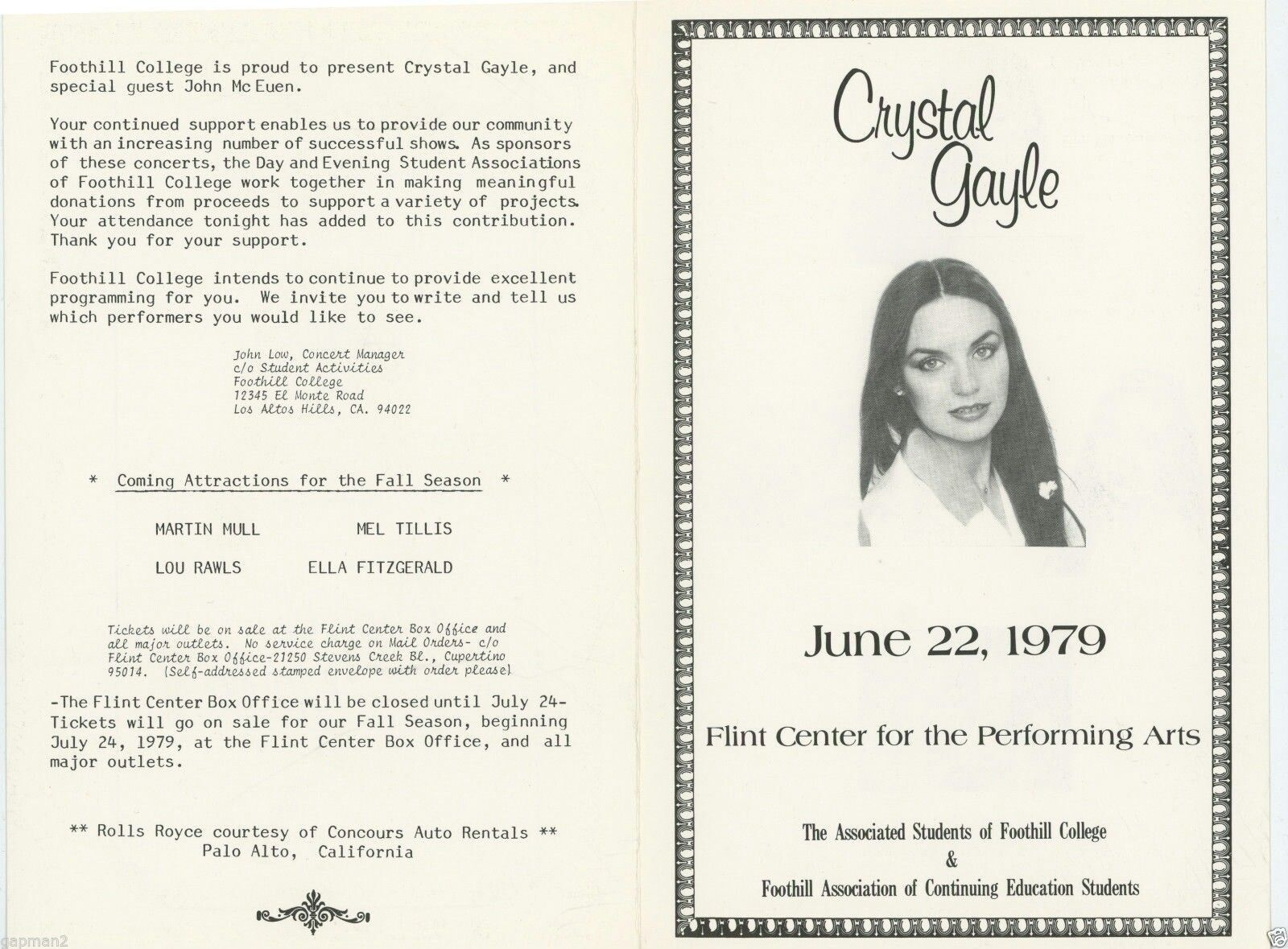 Crystal Gayle Concert Program   Programming Jessica