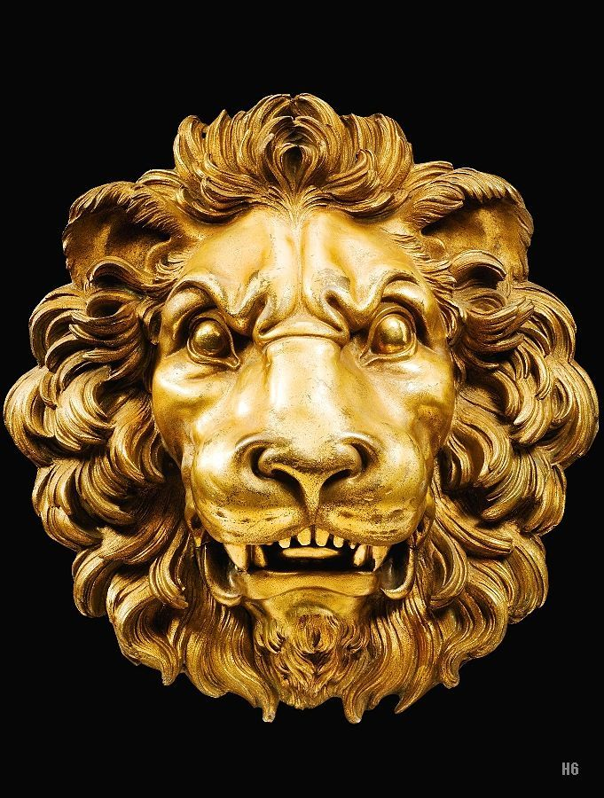 Lion Mask. 18th.century. French. gilt bronze. http://hadrian6.tumblr.com