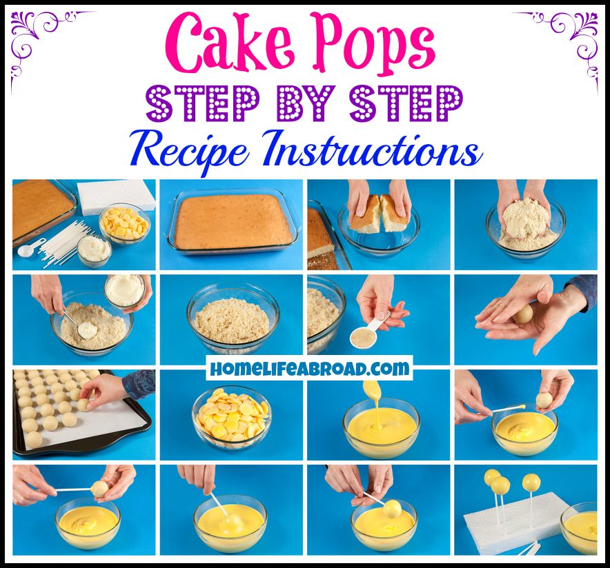 Cake Pops Step By Recipe Instructions Homelifeabroad Cakepop Baking Delicious
