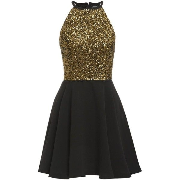 39b6490b1a Sheen Clothing Sheen Lilli Gold Sequin Skater Dress in Black ( 79) ❤ liked  on Polyvore featuring dresses