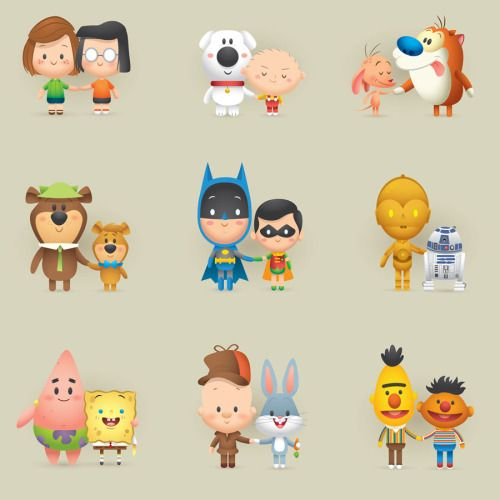 Jerrodmaruyama Happy National Best Friends Day Couple Cartoon Character Design Cute Cartoon