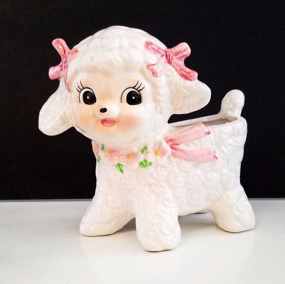 Vintage ceramic Relpo lamb planter. Pink ribbons, adorable!
