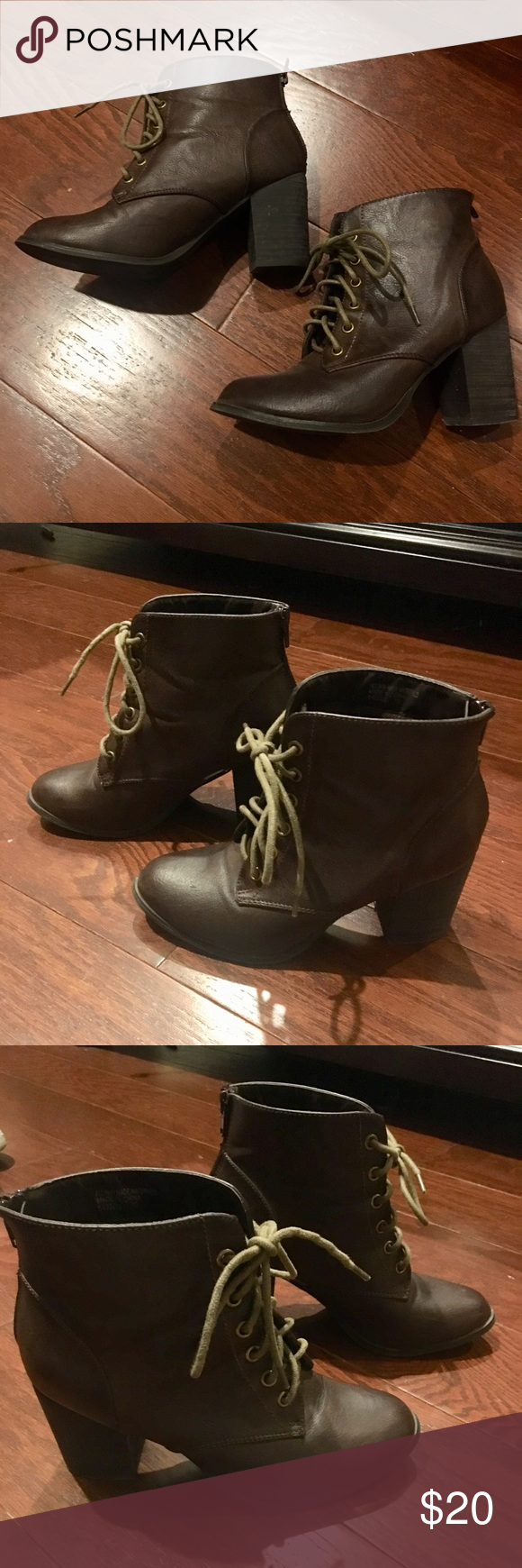 1e415fc749 Brown Diba Lace Up Boots with Block Heels THESE NEED TO GO ASAP 7 (fits