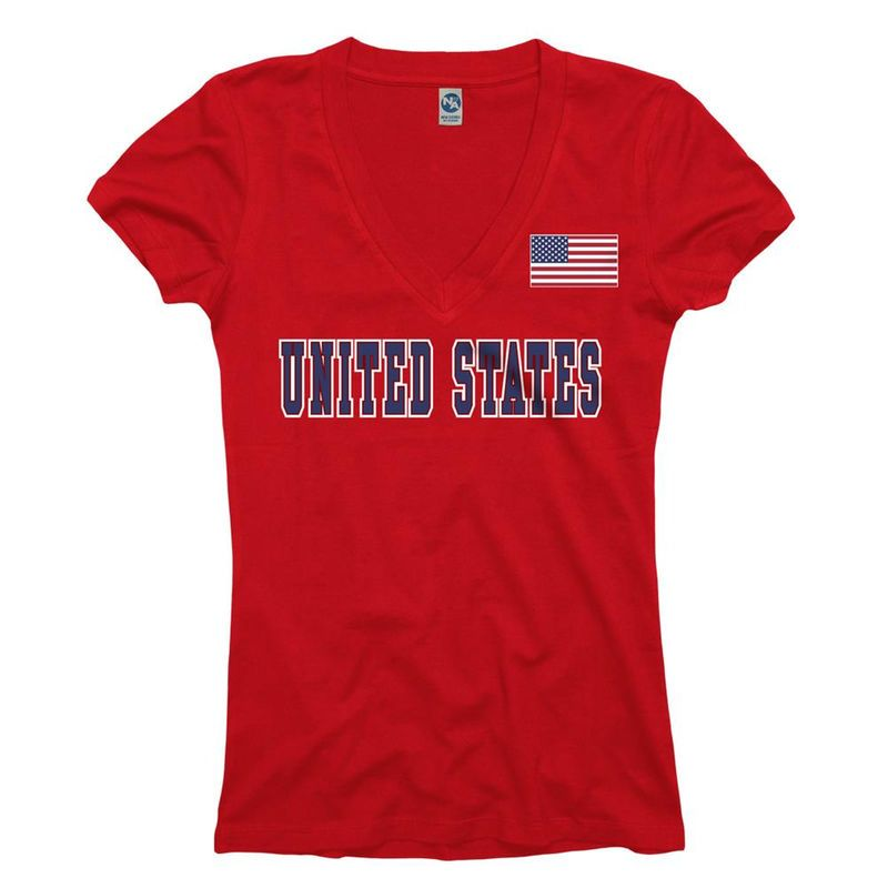 United States Women's Red Country Flag Pole V-Neck T-Shirt