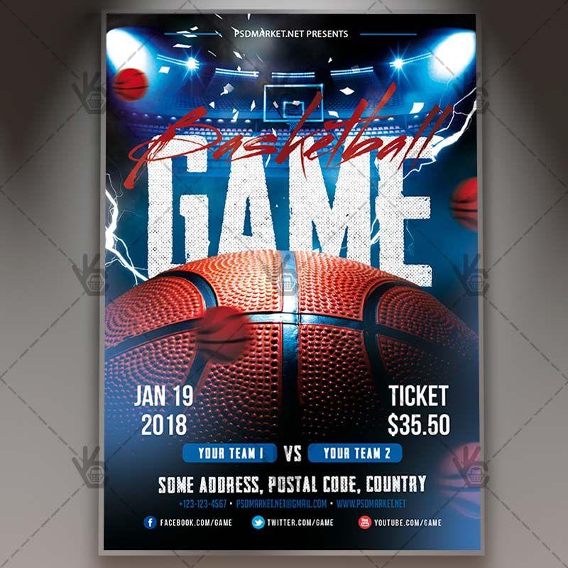 Basketball Game  Sport Flyer Psd Template Basketball