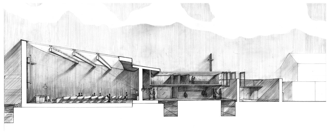 Rendered perspective section uj architecture third year for Architecture drawing