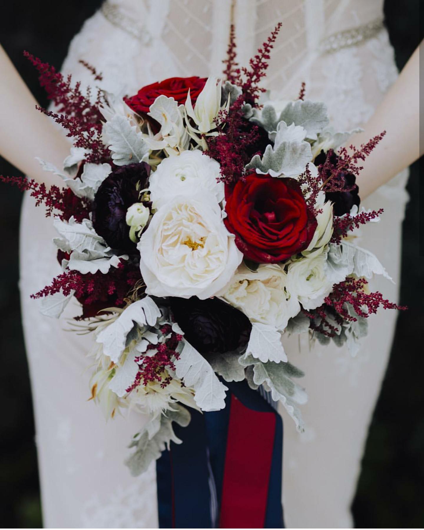 Deep Red Black Grey Whites Burgundy Wedding Flowers Crimson