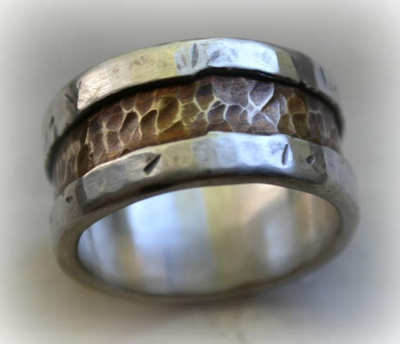Mens wedding band rustic distressed fine silver and brass
