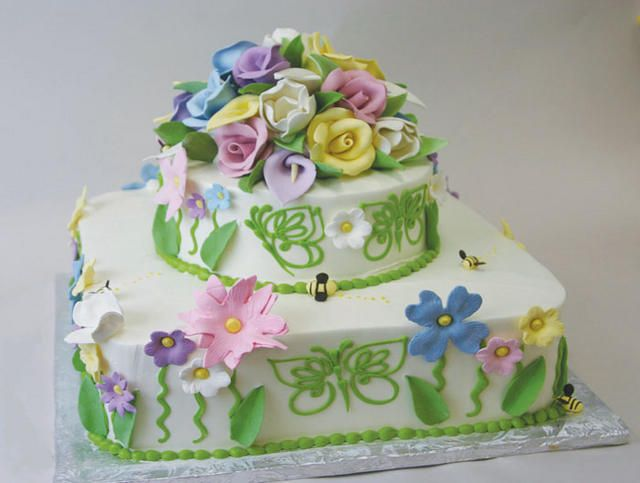 Astonishing Two Tier Whimsical Butterflies And Flowers Cake By Konditor Funny Birthday Cards Online Overcheapnameinfo
