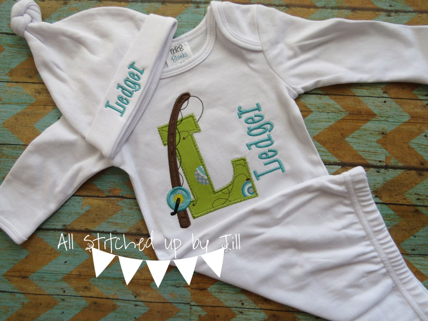 Fishing Theme Baby Boy Set, Baby Boy Gown and Hat with Monogram ...