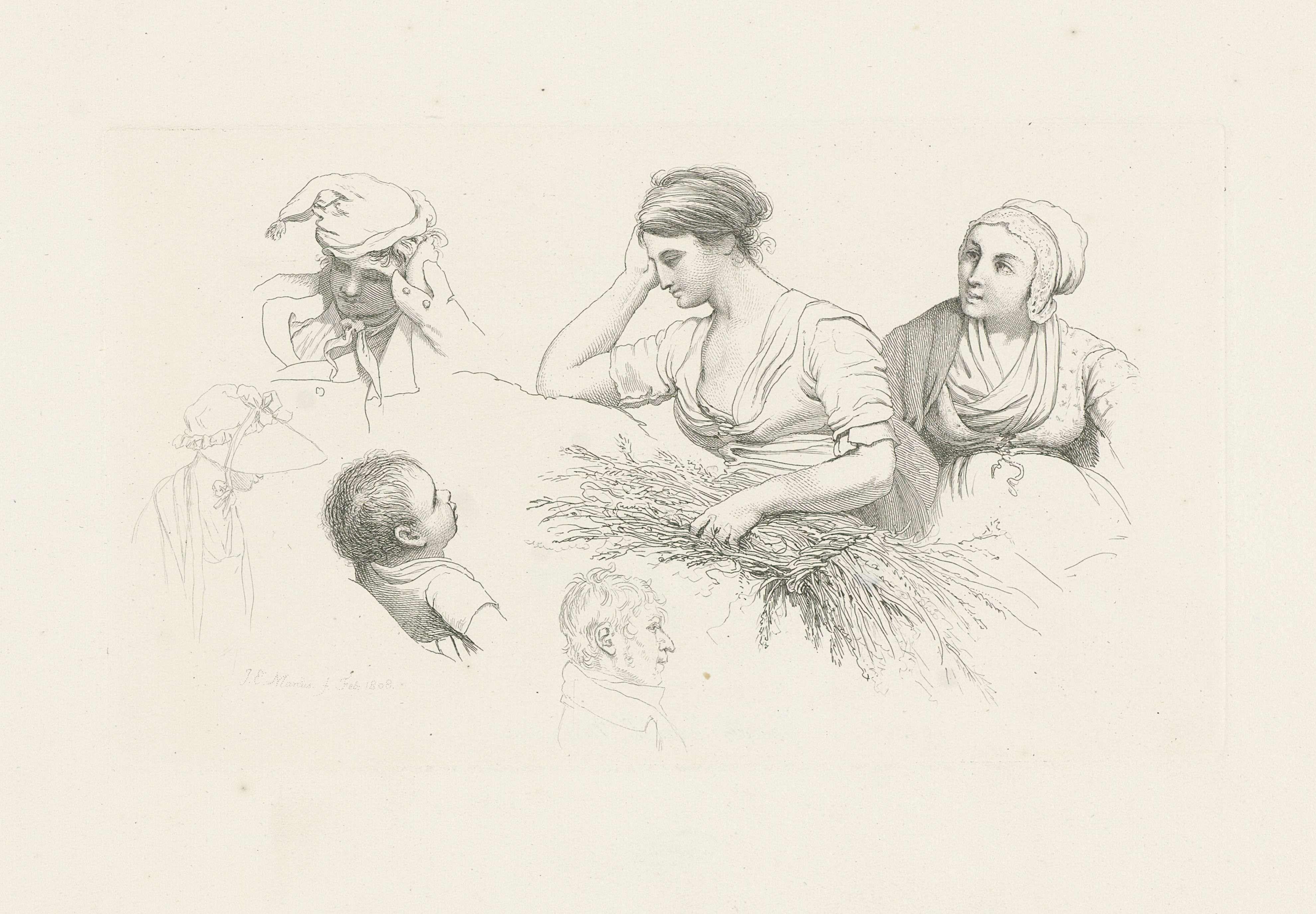 Jacob Ernst Marcus | Studieblad met een vrouw met een takkenbos en figuren, Jacob Ernst Marcus, 1808 |