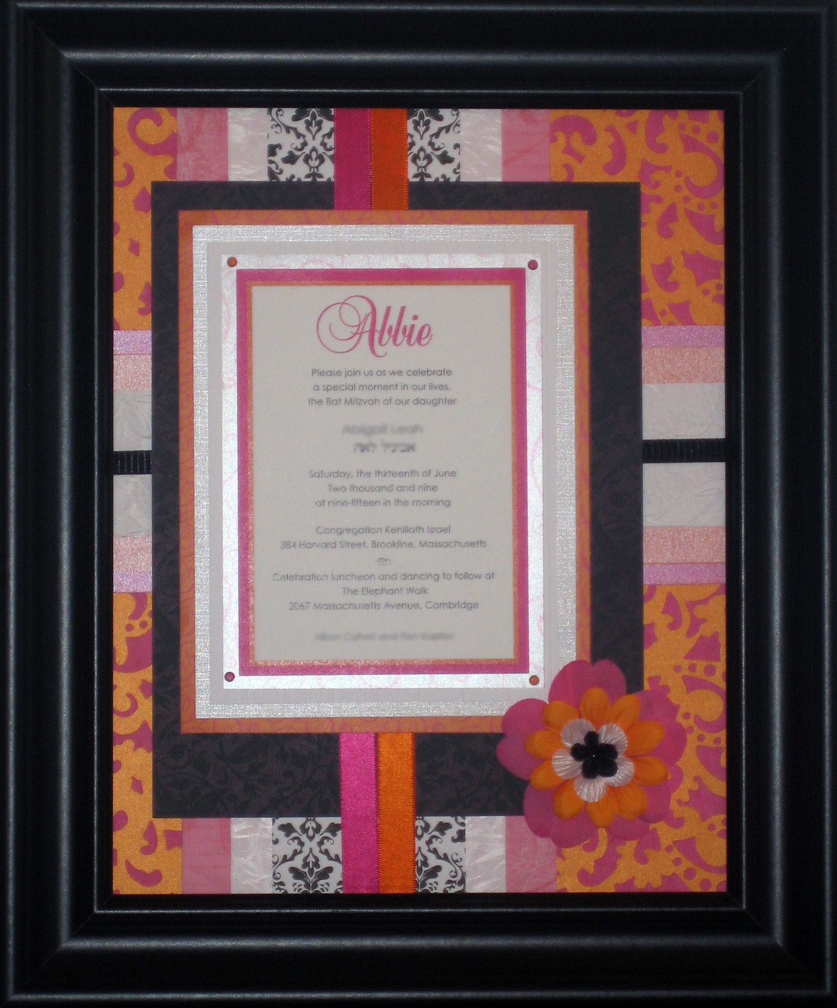 Pink and orange and black and white - modern and striking, yet this framed Bat Mitzvah invitation keepsake has a timeless look. $149