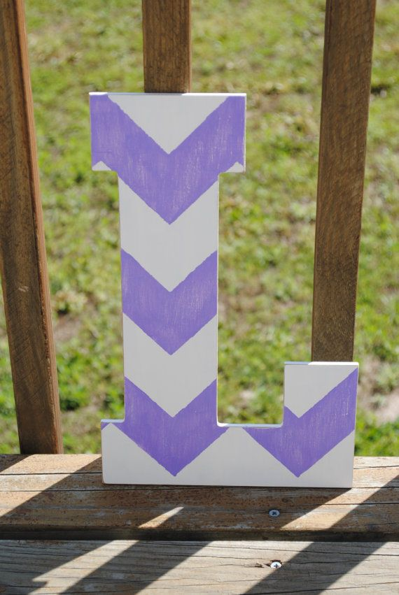 Rustic Custom Distressed Purple Chevron Home Decor Decorative Pottery Barn Style Letters Wedding Gift Bridesmaid