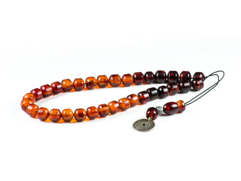 Old 1900-1920 Faturan Mastic Amber Gemstone Worry Beads Tasbih Meditation Prayer Beads 925|33+1Beads 35.3gr by TheBeadedGardencom on Etsy