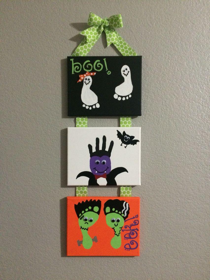 Halloween Handprints And Footprints Three Kid Art Canvas Ghost