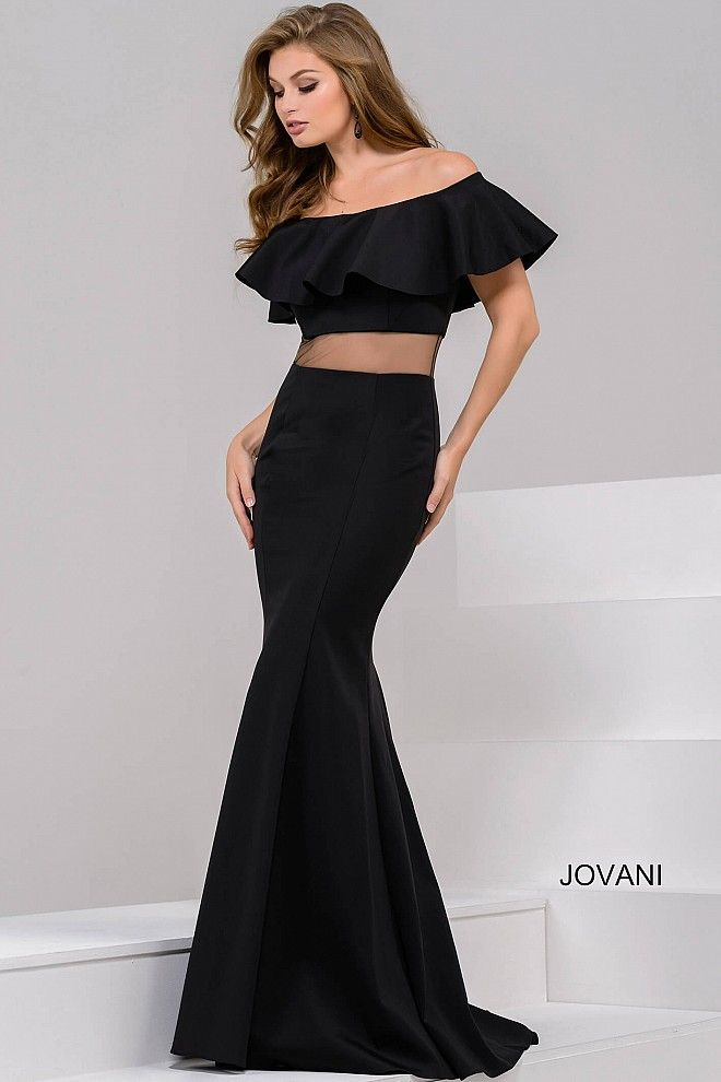 27b4334a88441 Sophisticated floor length form fitting black neoprene dress features off  the shoulder ruffle neckline bodice and illusion waist, also available in  royal ...