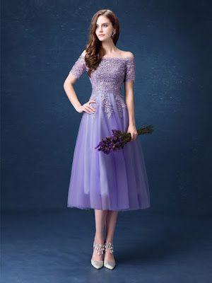 e67e9387c Vestido de festa midi ombro a ombro lilás. Top 6 Vestidos de Festa Ombro a