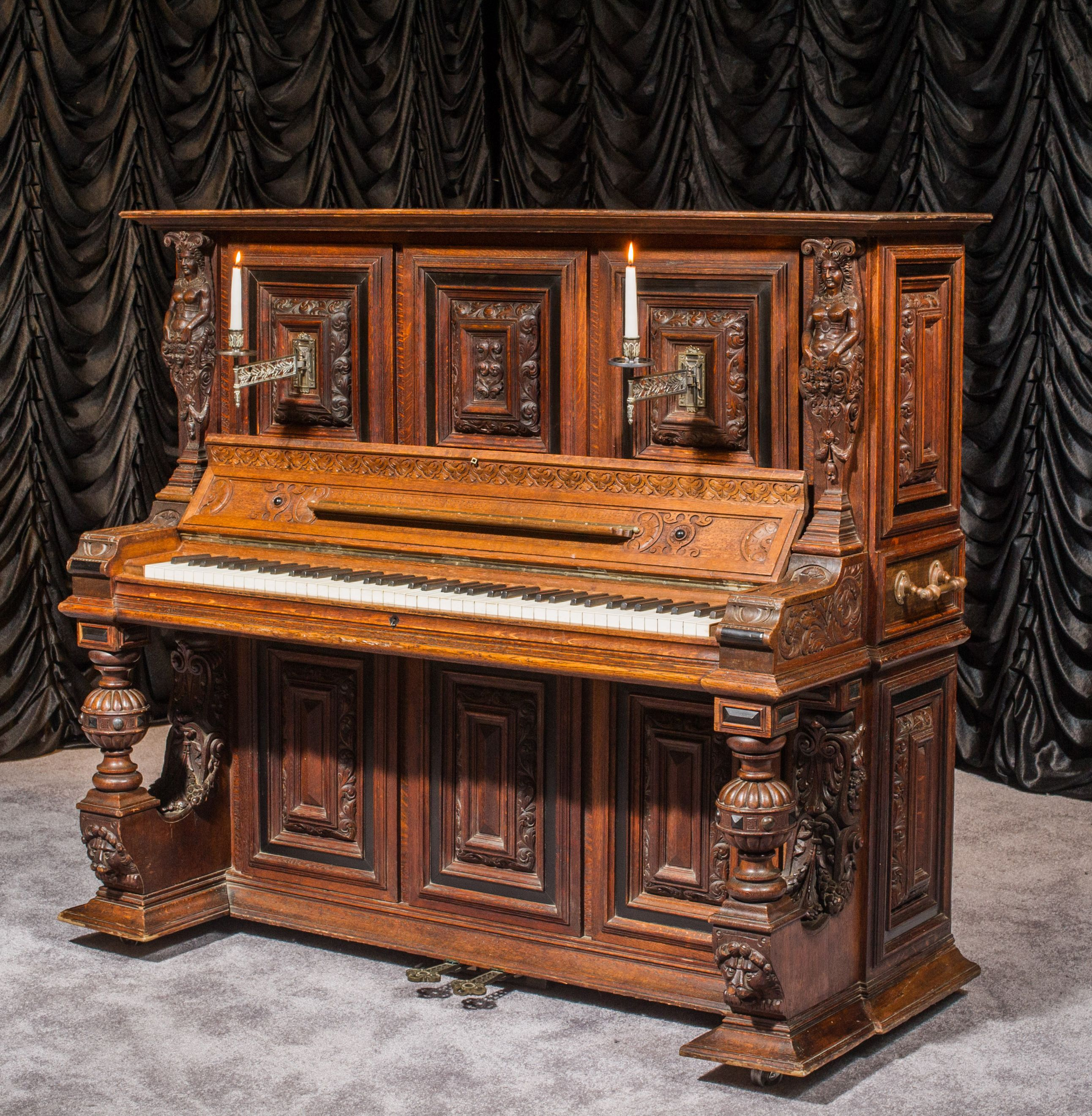 a dolge co gothic medieval upright piano the antique piano shop exceptional custom made. Black Bedroom Furniture Sets. Home Design Ideas