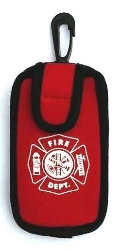 FIRE DEPARTMENT RED NEOPRENE POUCH WITH BELT LOOP, TOP CLIP, AND  MALTESE CROSS
