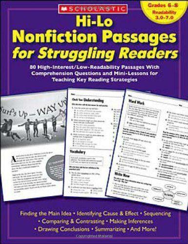 Hi Lo Nonfiction Passages For Struggling Readers Grades 6 8