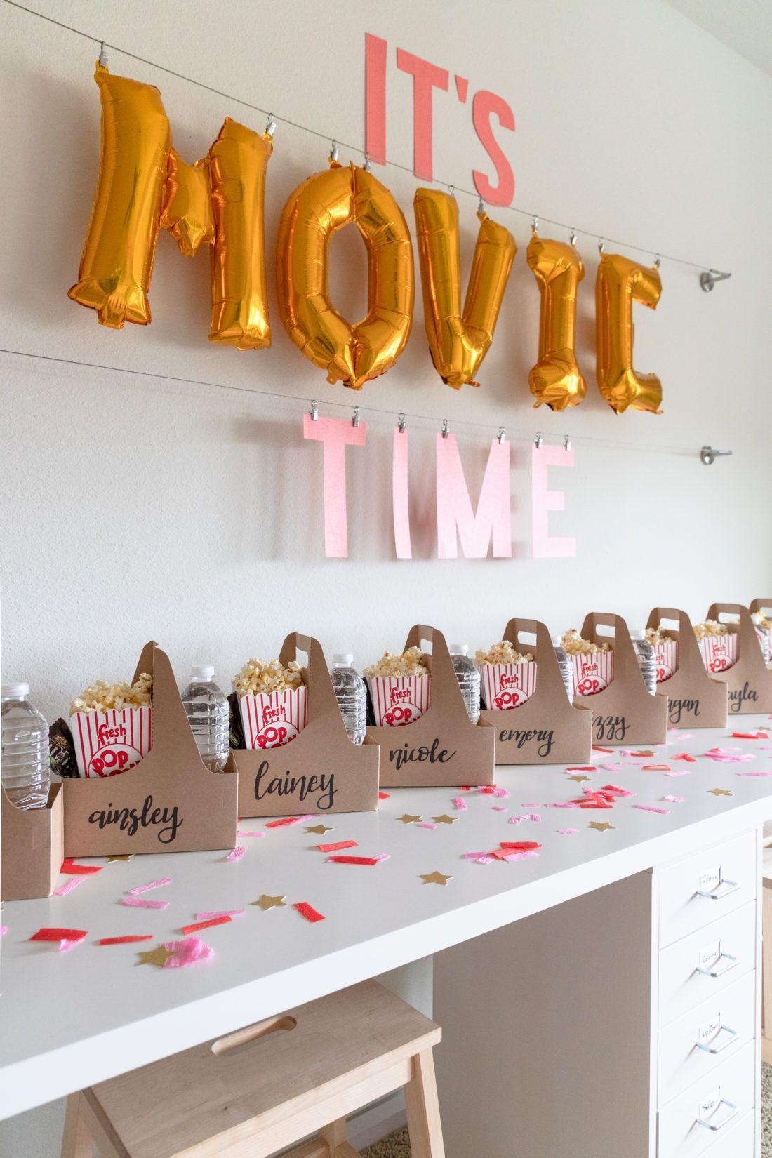 movie themed birthday party snacks, pre-teen movie party ideas