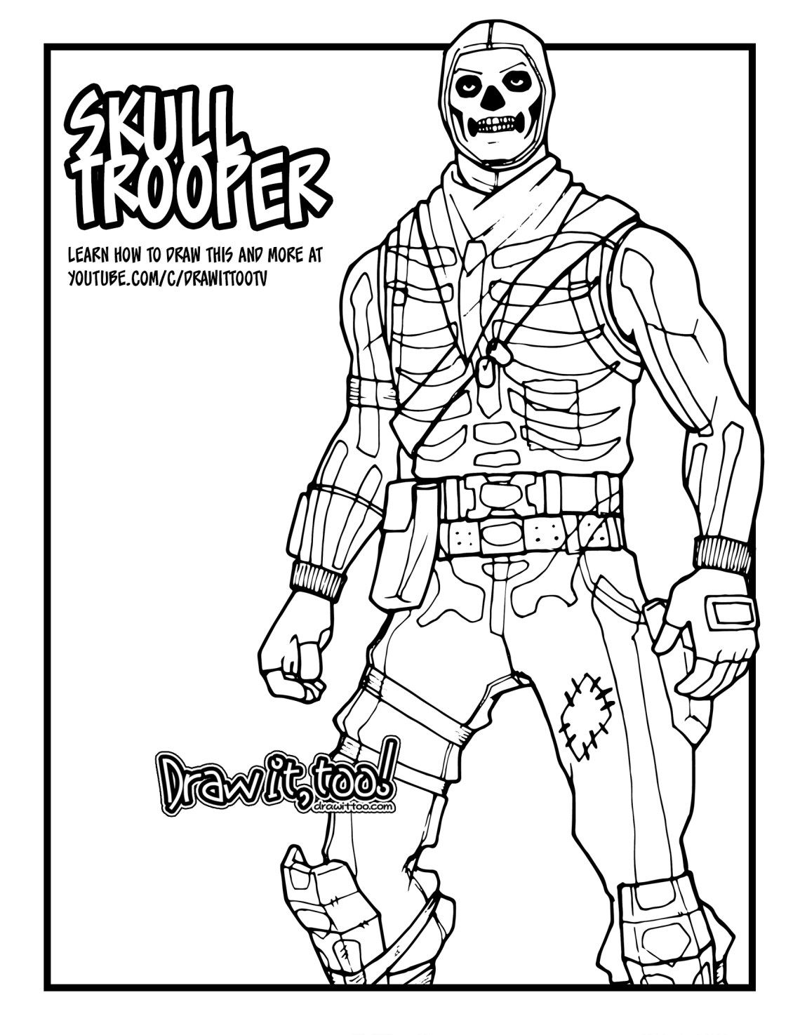 How To Draw Skull Trooper Fortnite Battle Royale Drawing Tutorial Draw It Too Skull Coloring Pages Coloring Pages Printable Coloring Pages