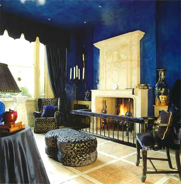 Beautiful Blue Walls And Gothic Home Decor Elements