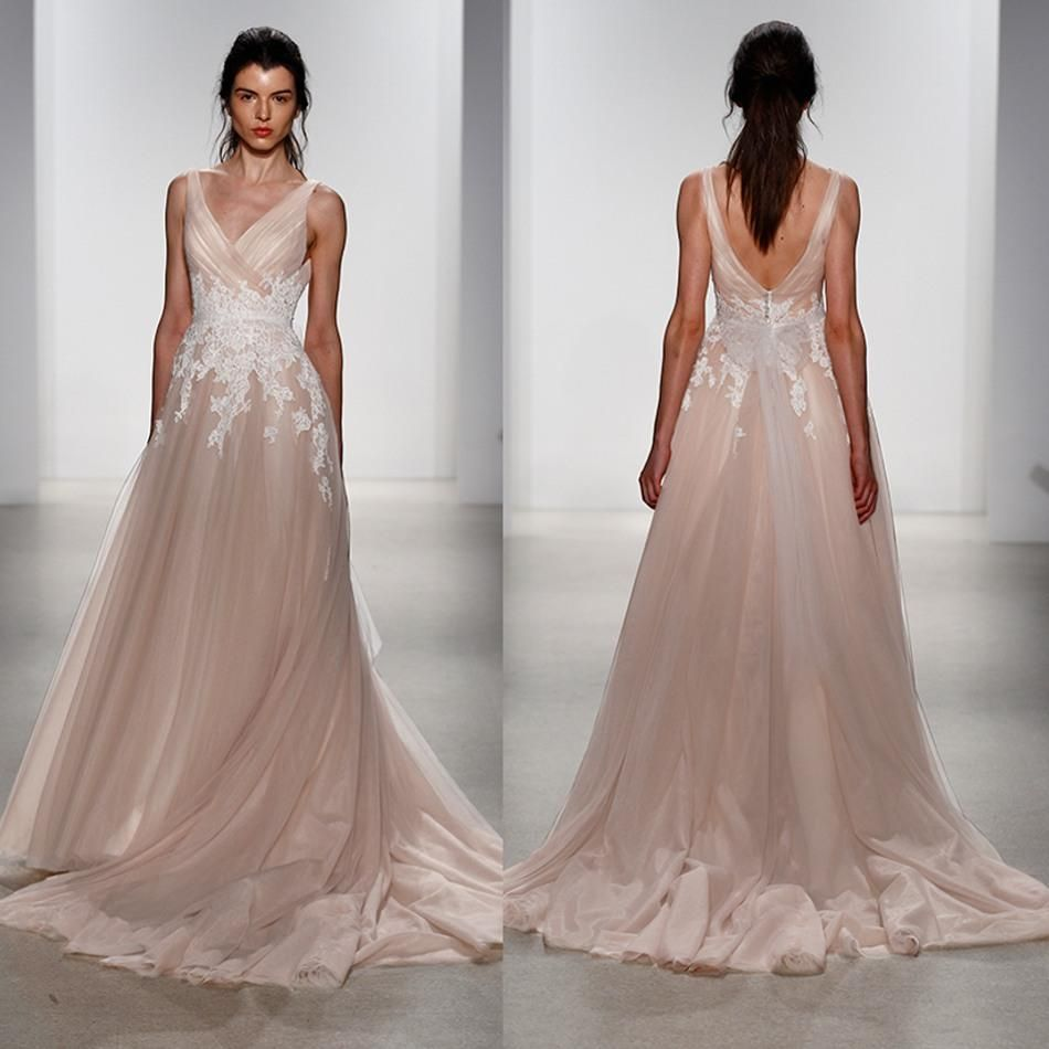 New Arrival Blush Tulle Boho Wedding Dresses White Applique Plus
