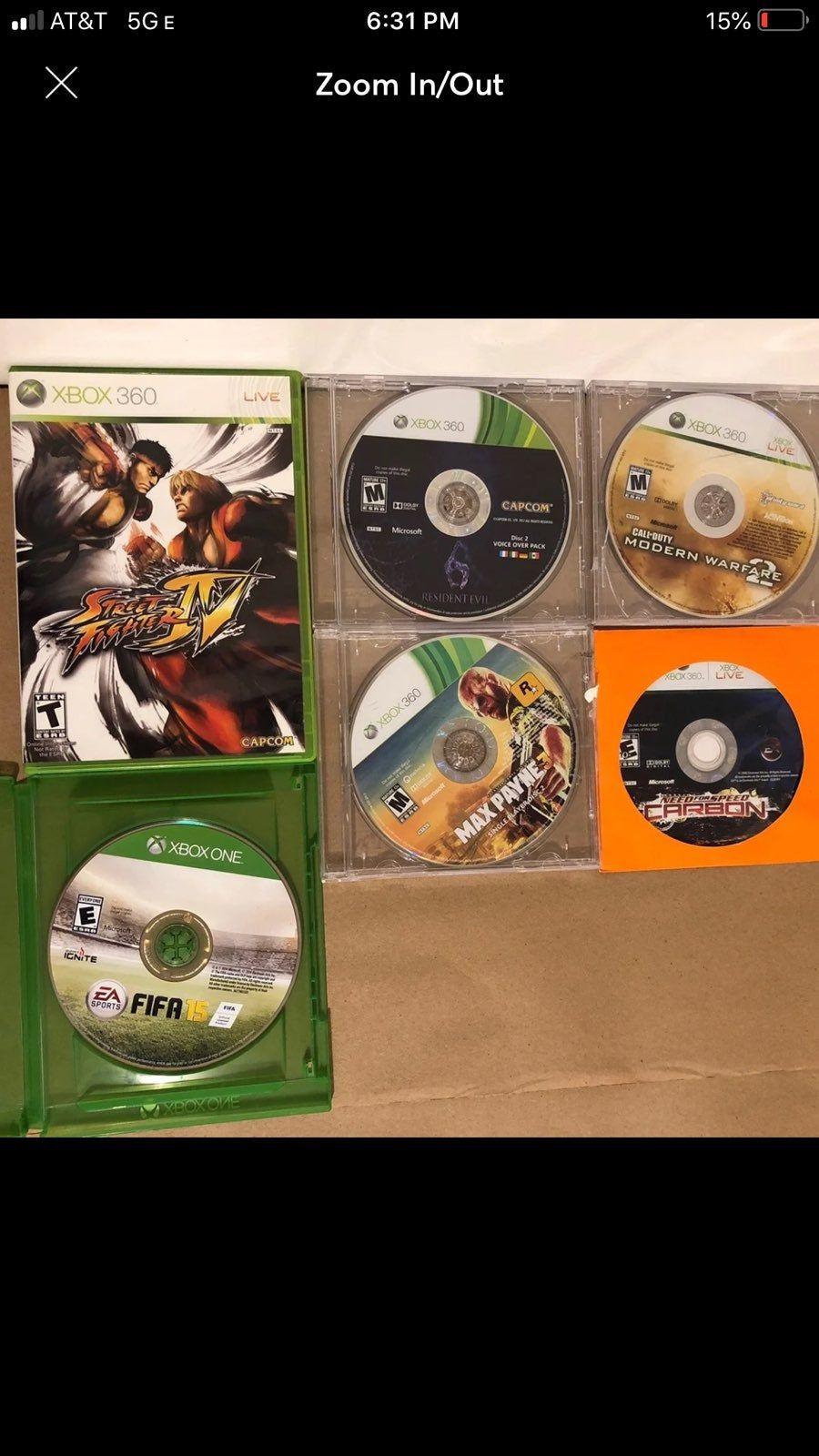 6 Xbox Games 5xbox 360 Games Street Fighter Iv Max Payne 3 Call Of