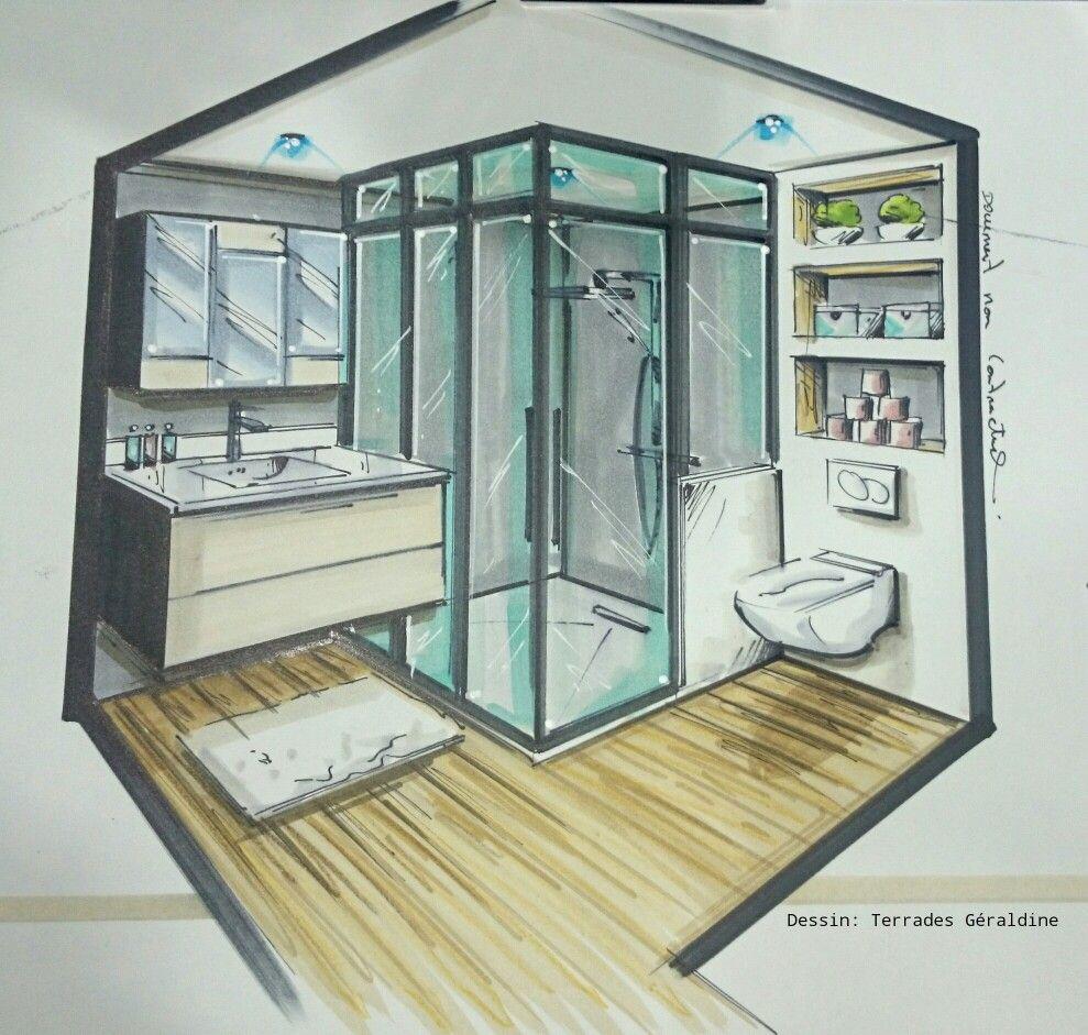 Dessin Salle De Bain projet salle de bain, dessin terrades géraldine pour fab