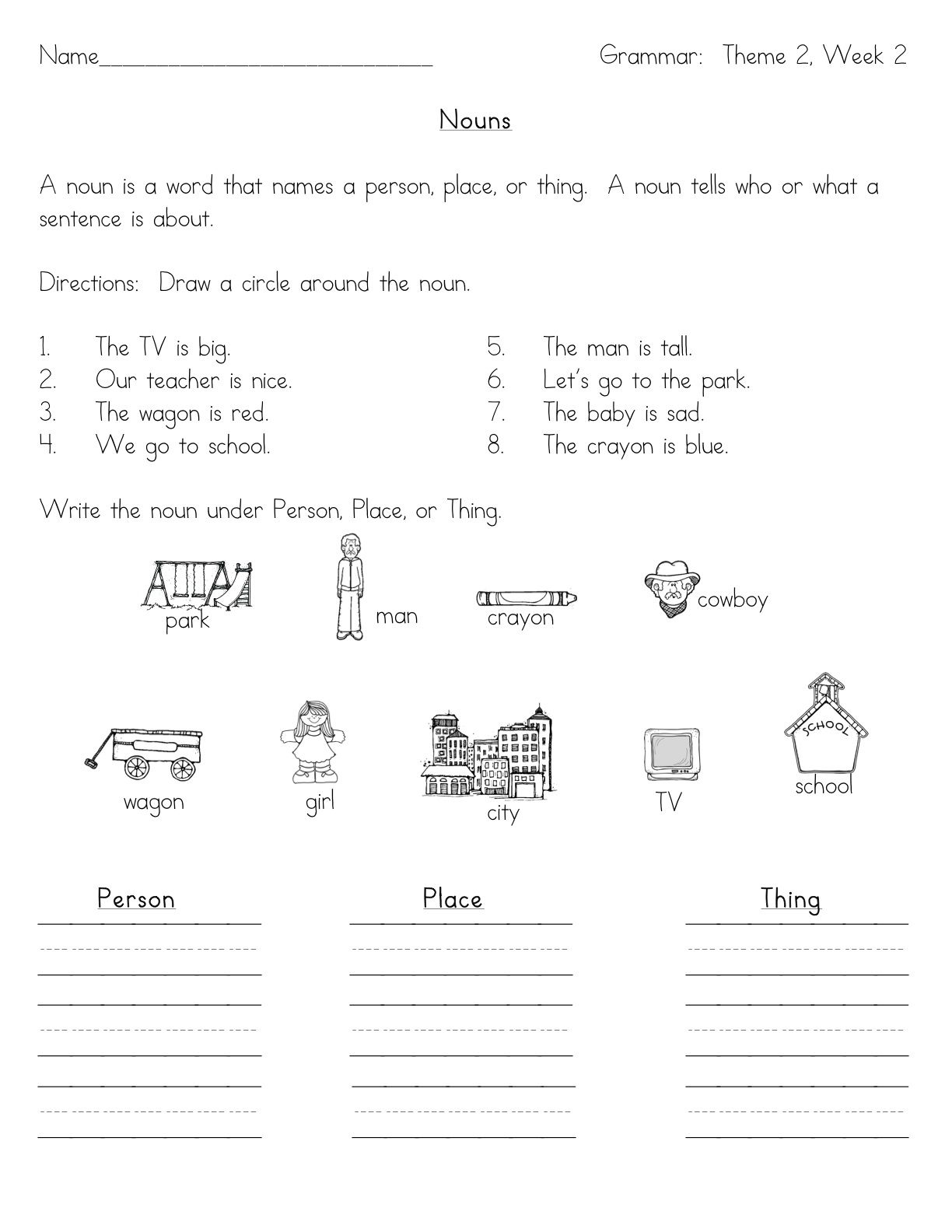 Noun Worksheets Kindergarten 3