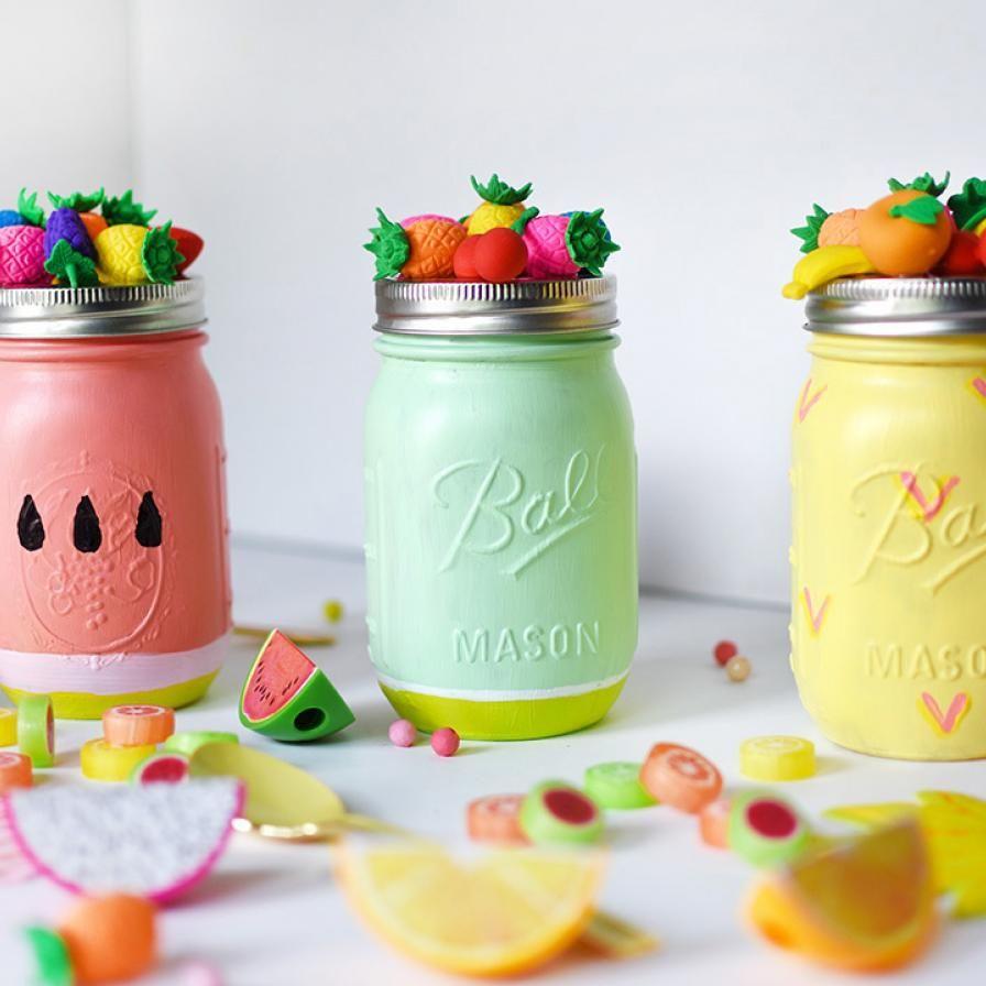 Diy Painted Fruit Mason Jars Mason Jar Diy Mason Jar Gifts Mason Jar Centerpieces